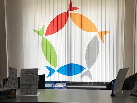 Жалюзи с логотипом  для Русской рыбной компании