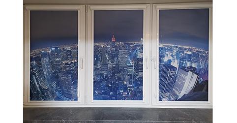 """Рулонные шторы на пластиковые окна с фотографией """"Ночной город"""""""